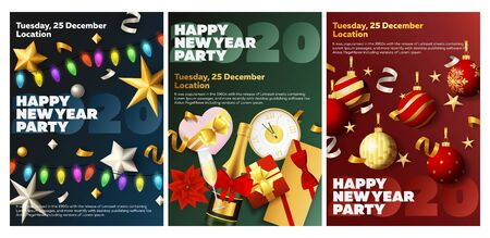 Happy New Year party blue, green, red banner set with champagne. New Year, Christmas, winter. Calligraphy with decorative design can be used for invitations, post cards, announcements