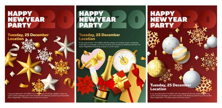 Happy New Year party red, green banner set with champagne. New Year, Christmas, winter. Calligraphy with decorative design can be used for invitations, post cards, announcements