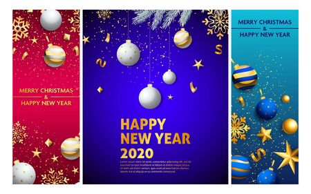 Happy New Year pink, blue banner set with balls. New Year, Christmas, winter. Calligraphy with decorative design can be used for invitations, post cards, announcements