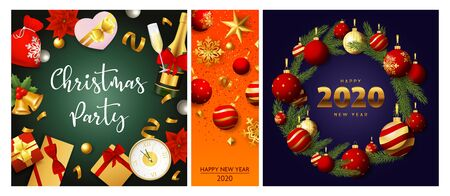 Christmas party green, orange, blue banner set with wreath, gift. New Year, Christmas, winter. Calligraphy with decorative design can be used for invitations, post cards, announcements