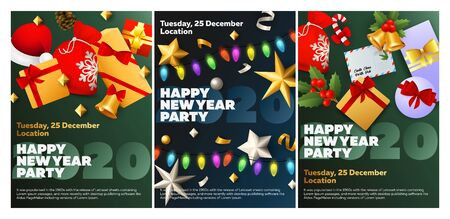 Happy New Year party blue, green banner set with garland. New Year, Christmas, winter. Calligraphy with decorative design can be used for invitations, post cards, announcements