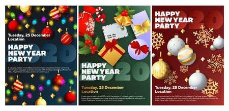 Happy New Year party blue, green, red banner set with letter. New Year, Christmas, winter. Calligraphy with decorative design can be used for invitations, post cards, announcements