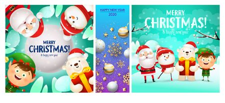 Merry Christmas cyan, blue banner set with Santa. New Year, Christmas, winter. Calligraphy with decorative design can be used for invitations, post cards, announcements
