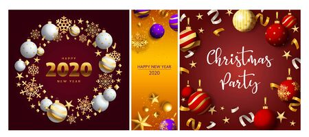 Christmas party vinous, orange banner set with wreath. New Year, Christmas, winter. Calligraphy with decorative design can be used for invitations, post cards, announcements
