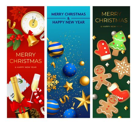 Merry Christmas red, pink, green banner set with baubles. New Year, Christmas, winter. Calligraphy with decorative design can be used for invitations, post cards, announcements