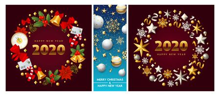 Merry Christmas vinous, blue banner set with wreath. New Year, Christmas, winter. Calligraphy with decorative design can be used for invitations, post cards, announcements