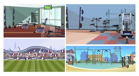 Sport facilities vector illustration set. Fitness club or gym interior, outdoor sport ground, city stadium with crowd of football fans. Sport concept Illustration