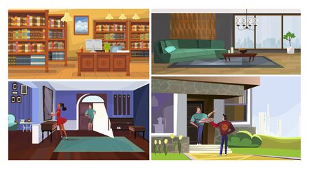 Public and private interiors illustration set. Traditional library hall, urban living room, couple in hallway, receiving order at front door. Interior concept