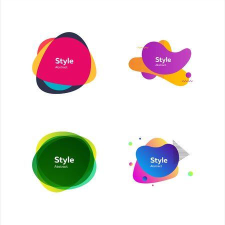 Abstract fluid modern graphic elements. Dynamical colored forms and line. Gradient banners with flowing liquid shapes. Vector illustration. Can be used for advertising, marketing, presentation