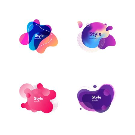 Bright abstract shapes. Dynamical colored forms and line. Gradient banners with flowing liquid shapes. Template for design of logo, advertisement or placard. Vector illustration Illusztráció