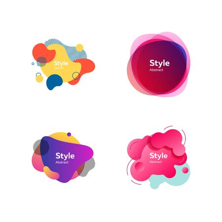 Bright modern graphic elements. Gradient banners with flowing liquid shapes. Template for design of leaflet, website or presentation. Vector illustration Illusztráció