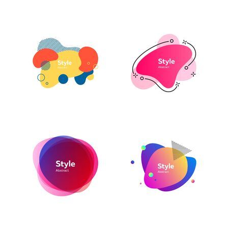 Bright multi-colored abstract forms. Dynamical colored forms and dots. Gradient banners with flowing liquid shapes. Template for design of website, leaflet, commercial. Vector illustration Illusztráció