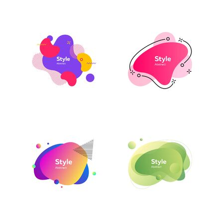 Colorful abstract figures set. Bright multicolored shapes with sample text. Trendy minimal templates for presentations, banners, flyers and posters. Vector illustration