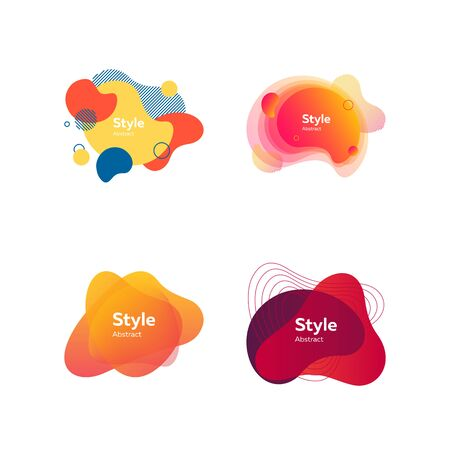 Set of modern design colored elements. Dynamical colored forms. Gradient banners with flowing liquid shapes. Template for design of logo, flyer or presentation. Vector illustration Иллюстрация