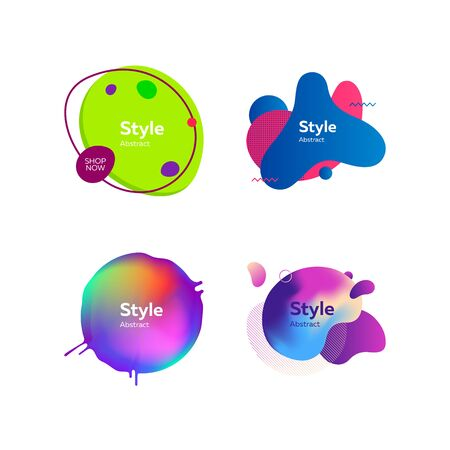 Set of creative multi-colored bubble-shaped objects. Dynamical colored forms and line. Gradient banners with flowing liquid shapes. Template for design of logo, flyer or presentation. Vector illustration