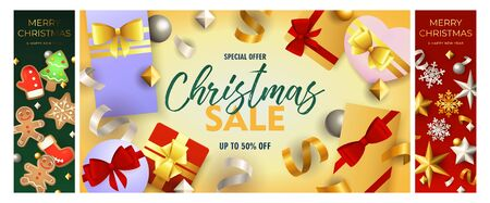 Christmas sale green, yellow, red banner set with gifts. New Year, Christmas, winter. Calligraphy with decorative design can be used for invitations, post cards, announcements