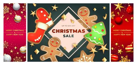 Christmas sale pink, green, red banner set with gingerbread. New Year, Christmas, winter. Calligraphy with decorative design can be used for invitations, post cards, announcements Иллюстрация