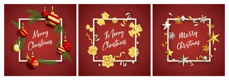 Merry Christmas red banner set with baubles. New Year, Christmas, winter. Calligraphy with decorative design can be used for invitations, post cards, announcements