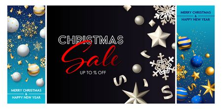 Christmas sale blue, black banner set with baubles. New Year, Christmas, winter. Calligraphy with decorative design can be used for invitations, post cards, announcements
