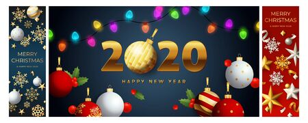 Happy New Year blue, red banner set with garland. New Year, Christmas, winter. Calligraphy with decorative design can be used for invitations, post cards, announcements