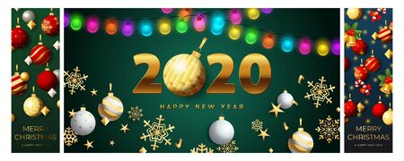 Happy New Year green, blue banner set with garland. New Year, Christmas, winter. Calligraphy with decorative design can be used for invitations, post cards, announcements