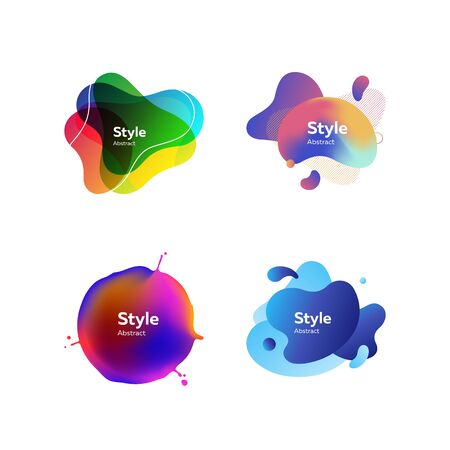 Set of colorful gradient abstract elements. Dynamical liquid shapes with sample text. Templates for presentations, banners, flyers and apps. Vector illustration Иллюстрация