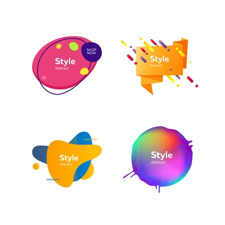 Set of creative abstract graphic elements. Dynamical colored forms. Gradient banners with flowing liquid shapes. Template for design of logo, flyer or presentation. Vector illustration