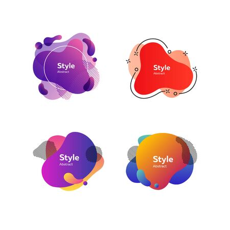 Set of bright colorful abstract graphic elements. Dynamical colored forms and dots. Gradient banners with flowing liquid shapes. Template for design of logo, flyer or presentation. Vector illustration