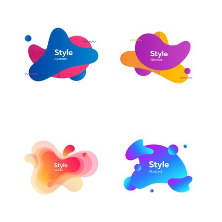 Irregular multicolored abstract elements set. Bright dynamic shapes and lines with sample text. Trendy minimal templates for presentations, banners, apps and web pages. Vector illustration 向量圖像