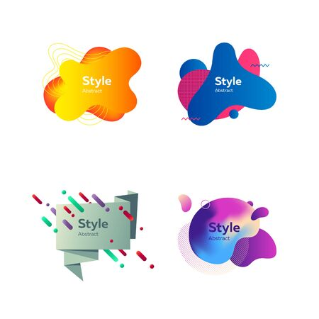 Badges set for advertising and logos. Abstract dynamic compositions with sample text. Trendy minimal templates for presentations, banners, posters and flyers. Vector illustration 向量圖像