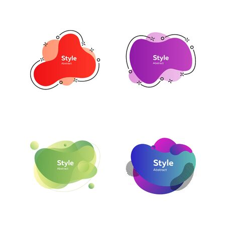 Colorful irregular shapes set. Modern abstract blob figures with sample text. Trendy minimal templates for presentations, flyers, apps and websites. Vector illustration