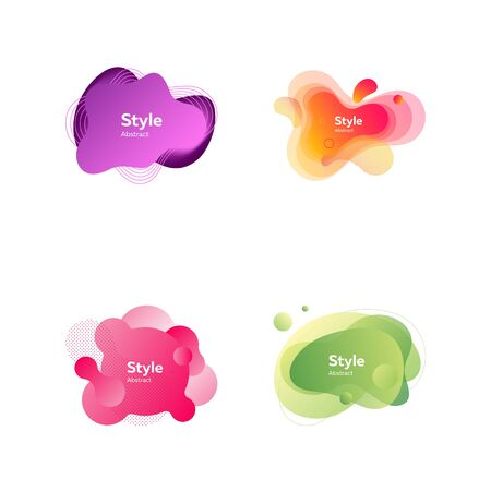 Modern creative banners set. Colorful dynamic shapes with sample text. Trendy minimal templates for presentations, banners, flyers and web pages. Vector illustration 向量圖像