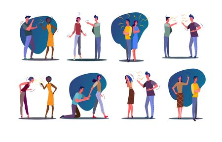 Quarrel relationship set. Couple and friends arguing and shouting at each other. Flat vector illustrations. Communication, stress, conflict concept for banner, website design or landing web page