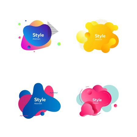 Colorful badges for banners set. Modern abstract figures on white background. Trendy minimal templates for presentations, banners, posters and flyers. Vector illustration