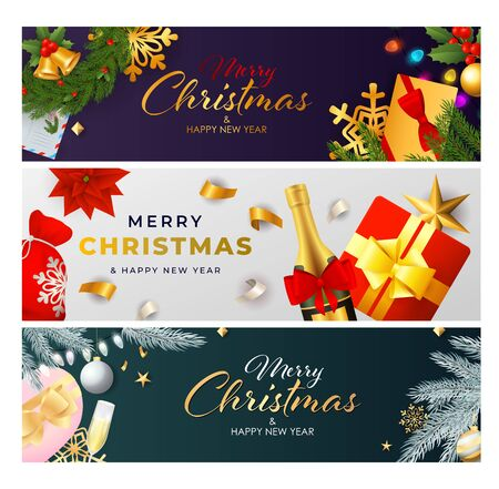 Christmas banner set with fizzy wine, fir tree, gift, streamer. Vector illustration for festive posters, greeting cards, postcards