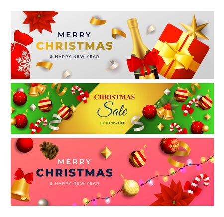Merry Christmas Sale banner set with champagne, baubles, candy cane, garland. Vector illustration for festive posters, greeting cards, postcards