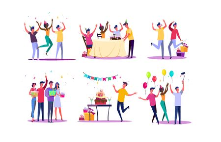 Birthday party set. Friends celebrating, dancing, having fun, holding gifts. Flat vector illustrations. Holiday, festive event concept for banner, website design or landing web page