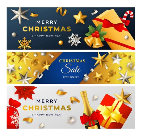 Merry Christmas Sale banner set with gold stars and streamer, champagne, baubles, gift. Vector illustration for festive posters, greeting cards, postcards Ilustração