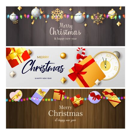 Merry Christmas banner set with colorful garlands, gifts, baubles, clock. Vector illustration for festive posters, greeting cards, postcards