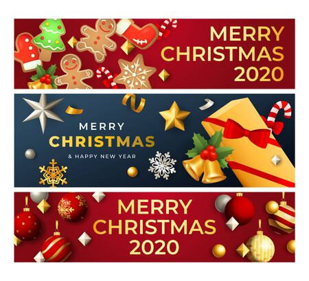 Merry Christmas banner set with gingerbread cookies and baubles, gift, snowflakes, bells. Vector illustration for festive posters, greeting cards, postcards