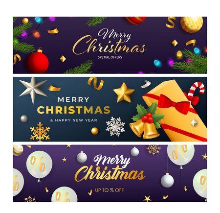 Christmas Sale banner set with present, baubles, fairy lights, streamer, confetti. Vector illustration for advertising flyers and poster design Ilustração Vetorial
