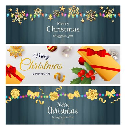 Christmas banner set with colorful garlands, gold bows and snowflakes, gifts, mistletoe. Vector illustration for festive posters, greeting cards, postcards Banco de Imagens - 133770634