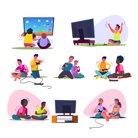 Excited video gamers set. Teenagers playing videogames, sitting at TV, using console, controller, gamepad, shouting. People concept. Vector illustration posters, presentation slides, web design
