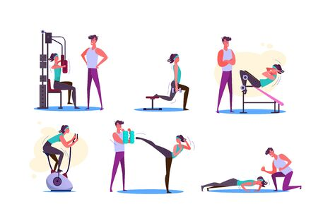 Set of couples exercising. Men and women doing sport in gym. Sport concept. Vector illustration can be used for presentation, project, webpage Illusztráció