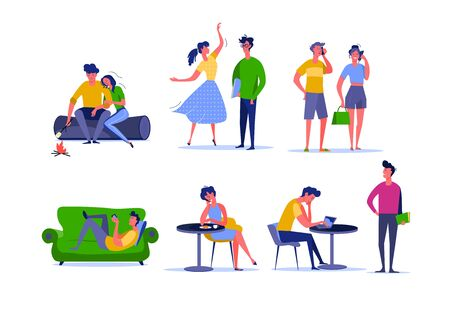 Daily activity of young couples. Male and female cartoon characters spending time together at home and outdoors. Vector illustration for banner, poster , leaflet Illusztráció