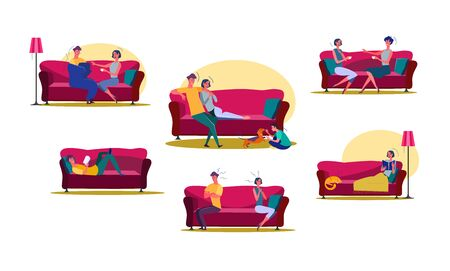 Set of man and woman spending time at home. Group of couples living together. Life together concept. Vector illustration can be used for presentation, project, webpage 일러스트