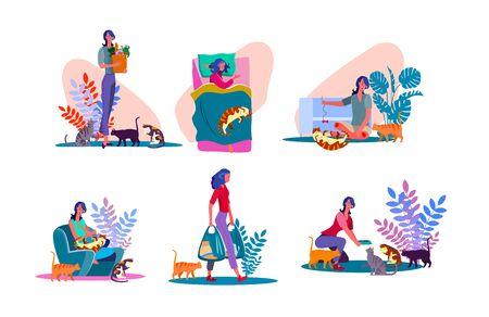 Set di persone amante dei gatti. Donna che gioca con i gatti, dà da mangiare agli animali domestici. Illustrazioni vettoriali piatte. Cura degli animali o concetto di hobby per banner, design di siti Web o pagine Web di destinazione Vettoriali