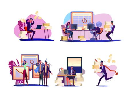 Missing deadline set. Nervous panic employees working at workplaces, running with papers. Flat vector illustrations. Time management failure concept for banner, website design or landing web page Ilustrace