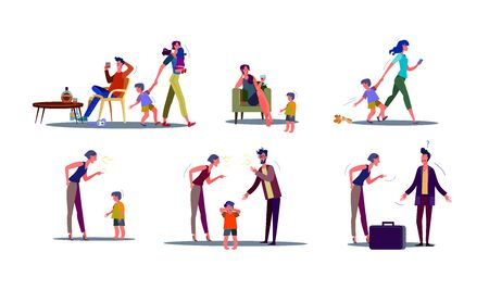 Toxic parents illustration set. Parents rowing, drinking alcohol, getting divorced, shouting at child. Family concept. Vector illustration for topics like problem, childhood, conflict