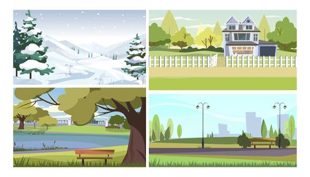 Seasonal landscapes vector illustration set. Winter mountains with snow and fir trees, summer city parks with benches, apartment house with green grass. Seasons and nature concept